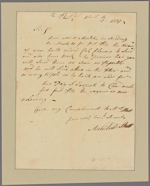 Letter to Brig. Gen. [Edward] Hand, Lancaster