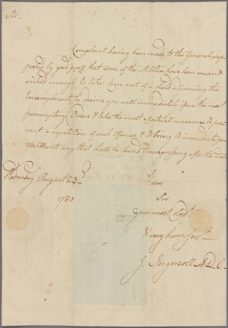 Letter to Brig. Gen. [John] Lacey