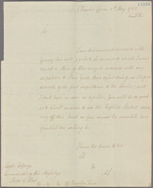 Letter to Capt. [John] Colpoys, off Charlestown