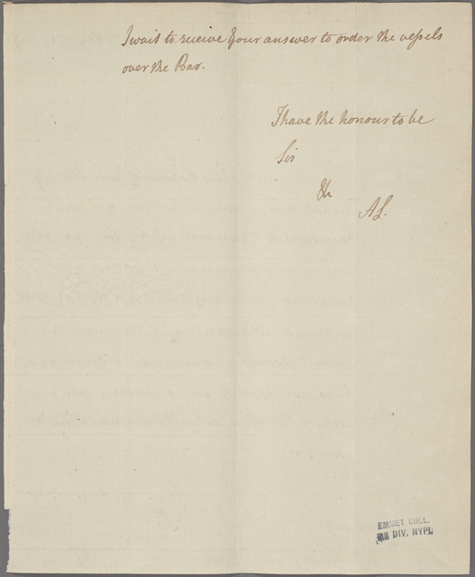 Letter to Capt Loughearne, Commanding Ships of War [off Charleston]