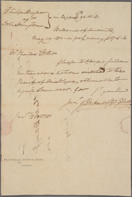 Letter to Charles Pettit, Amboy