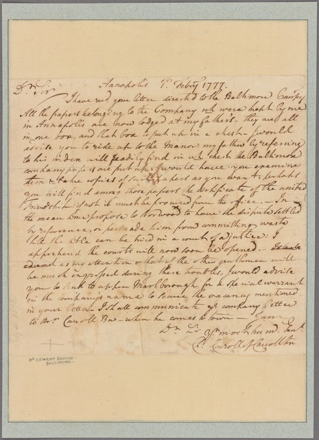 Letter to Clement Brooke, Baltimore Furnace