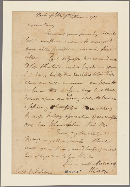 Letter to Col. Henry Jackson