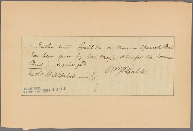 Letter to Col. Will[iam] Cabell [Union Hill, Va.]