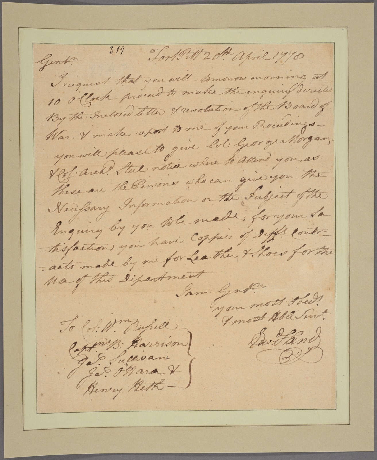 Letter to Col. William Russell and Captains B. Harrison, James Sullivan, James O'Hara and Henry Heth