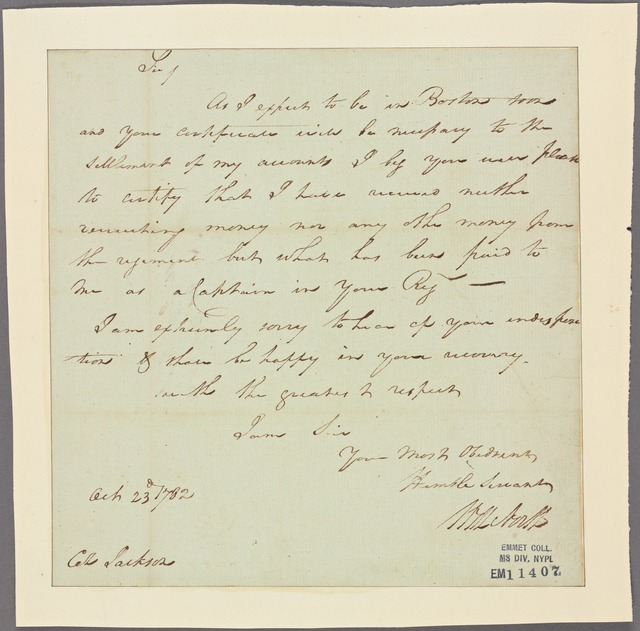 Letter to Colonel [Henry] Jackson