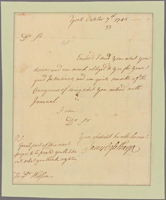Letter to Dr. Wilson