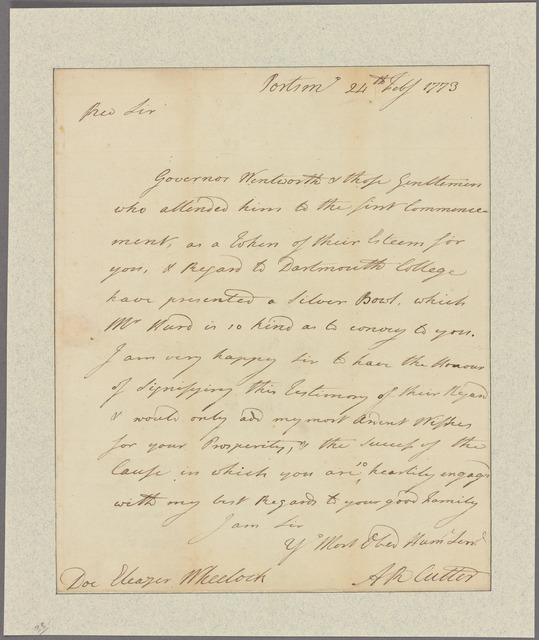 Letter to Eleazar Wheelock, Dartmouth College, Hanover [N. H.]