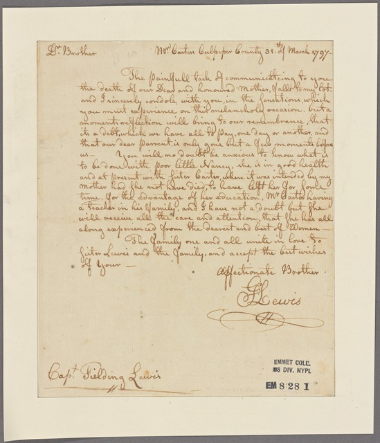 Letter to Fielding Lewis
