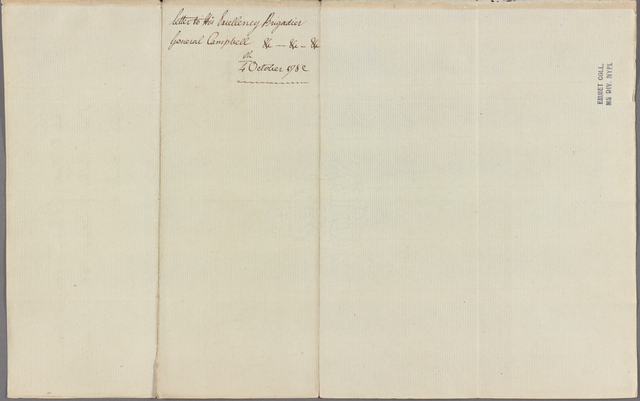 Letter to Gen. [Archibald] Campbell, Governor of Jamaica