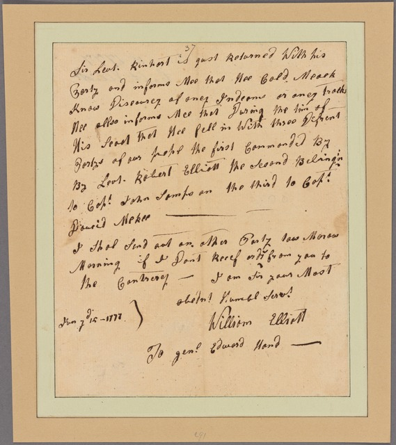 Letter to Gen. Edward Hand Fort Pitt