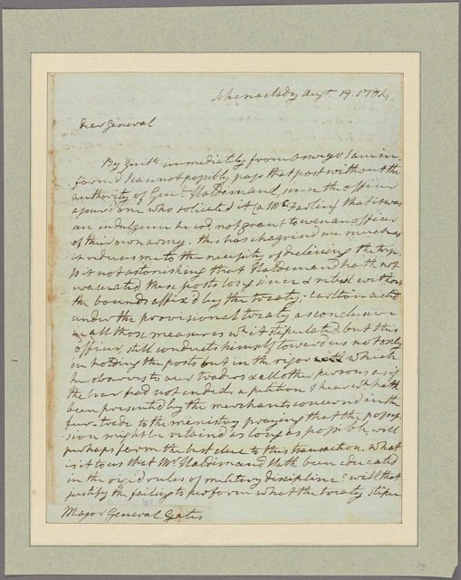 Letter to Gen. [Horatio] Gates