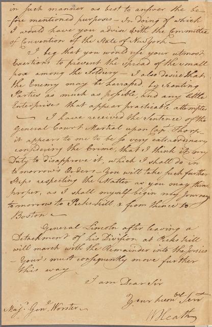 Letter to Gen. Woorster [David Wooster], Rye