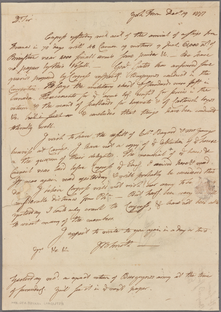 Letter to George Bryan, Lancaster