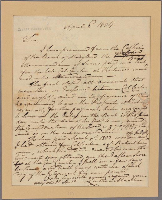 Letter to George Carter