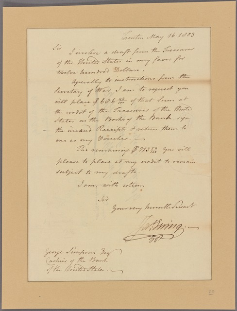 Letter to George Simpson, Cashier of the Bank of the United States [Philadelphia]