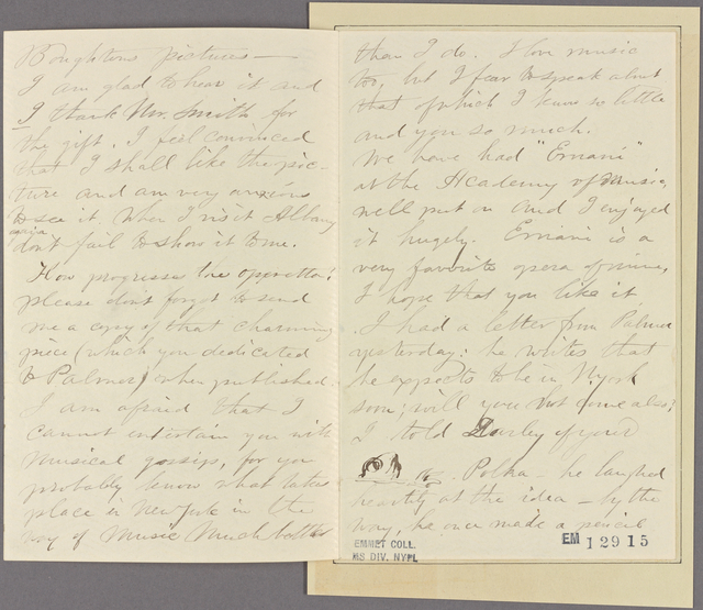 Letter to G[eorge William] Warren [Albany]