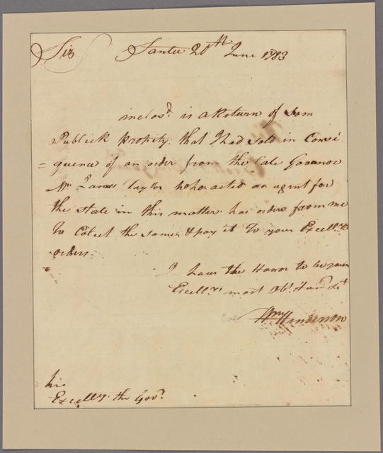 Letter to Gov. Benjamin Guerard, Charles Town