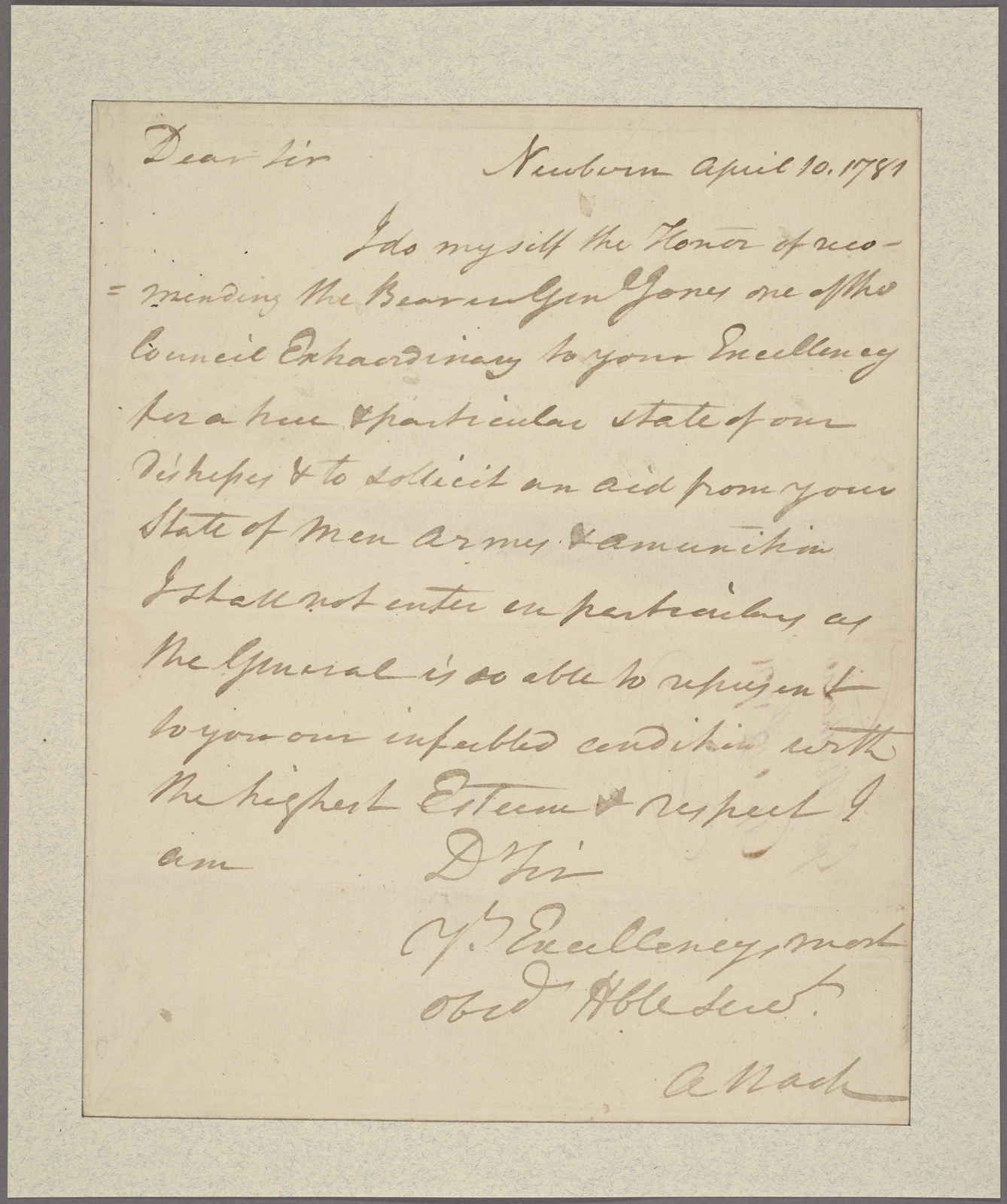 Letter to Gov. [Thomas] Jefferson [Virginia]