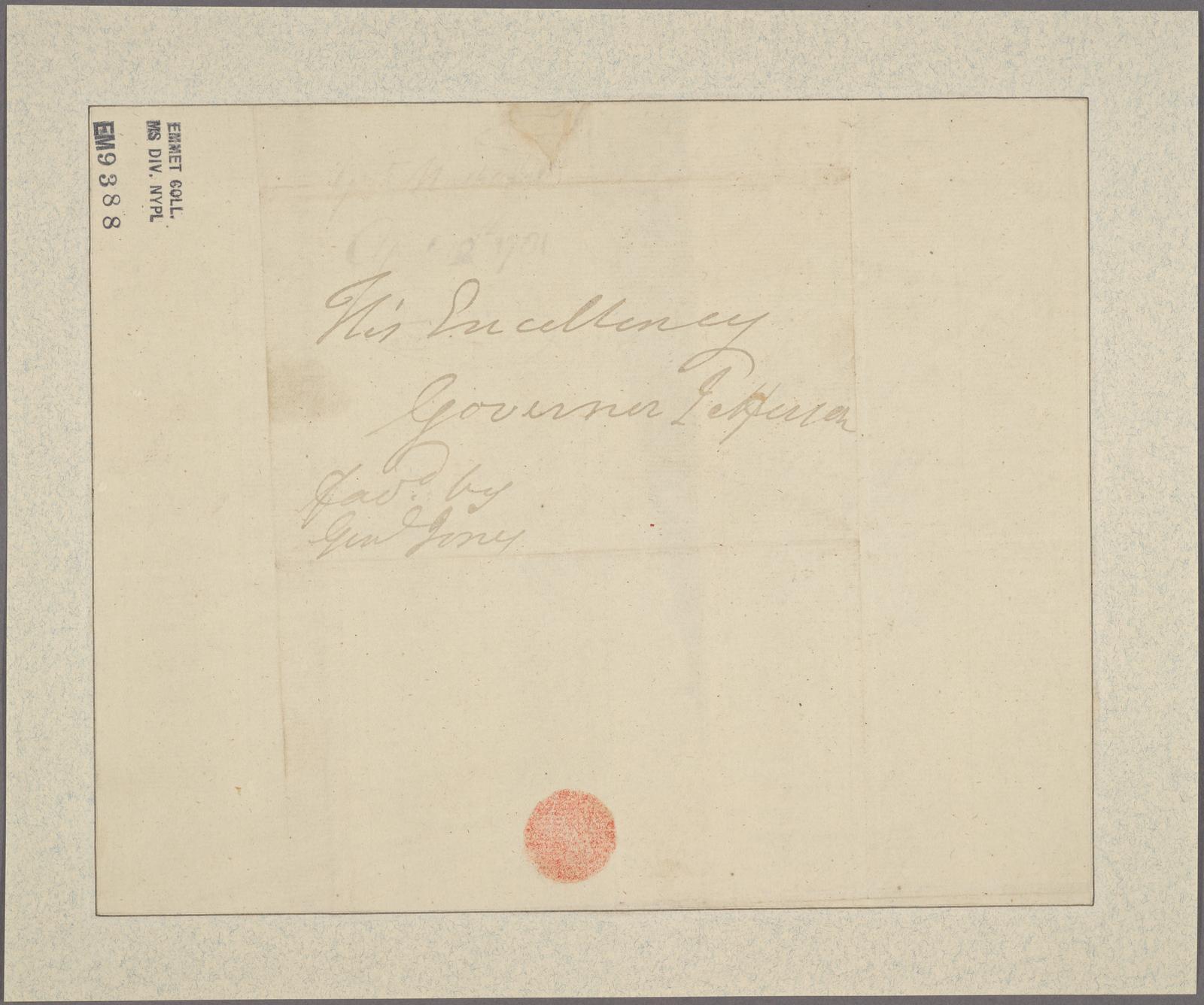 Letter to Gov. [Thomas] Jefferson [Virginia]