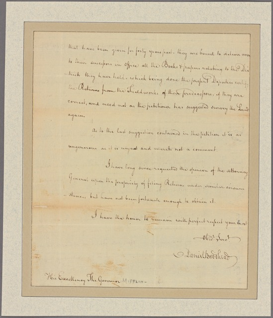 Letter to his Excellency the Governor [Thomas Mifflin]