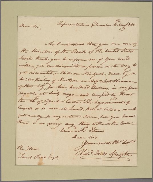 Letter to Jacob Read, Senate Chamber