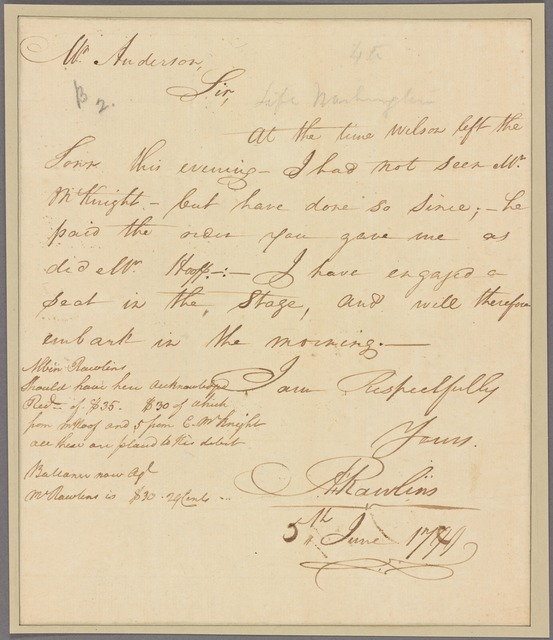 Letter to [James] Anderson [Mount Vernon]
