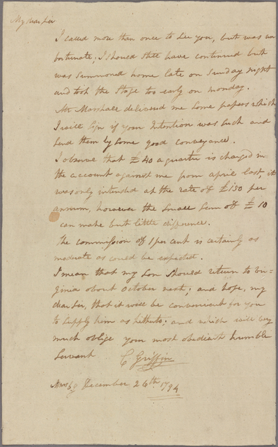 Letter to James Brown, Richmond