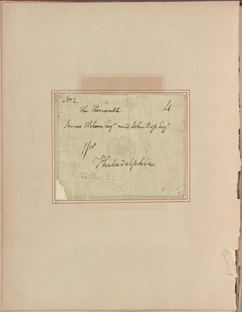 Letter to James Wilson and John Ross, Philadelphia