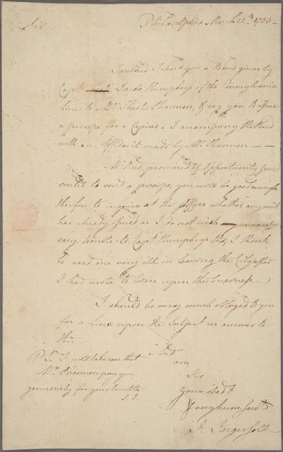 Letter to Jasper Yeates [Lancaster]