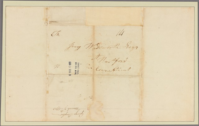 Letter to Jeremiah Wadsworth, Hartford, Conn.