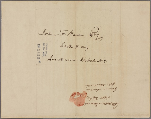 Letter to John F. Bacon, Clerk &c, Court room, City Hall, N. Y.