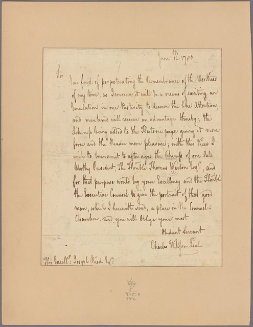 Letter to Joseph Reed, President of the State of Pennsylvania