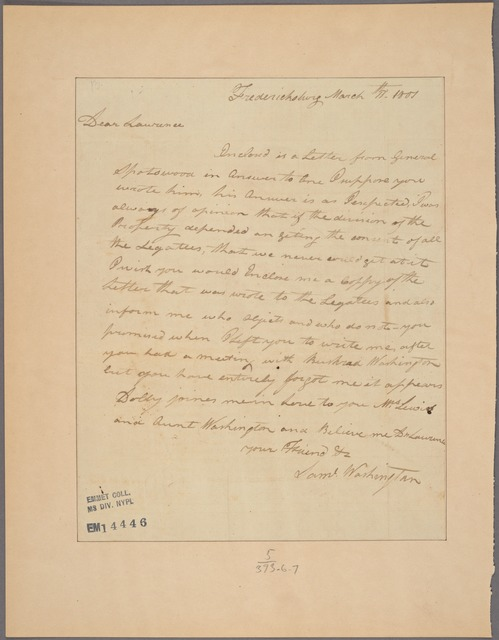 Letter to [Lawrence Lewis?]