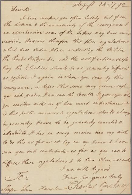 Letter to Major John Hampton