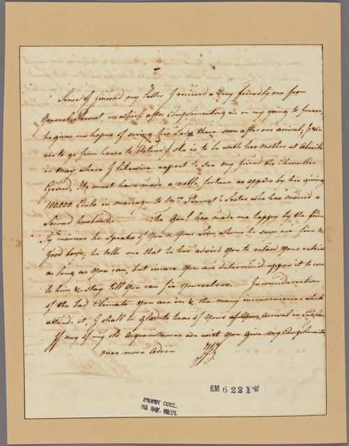 Letter to Major Prevost