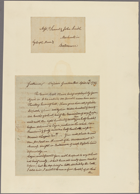 Letter to Messrs. Samuel and John Smith, merchants in Baltimore