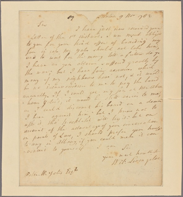 Letter to Peter W. Yates [Albany]