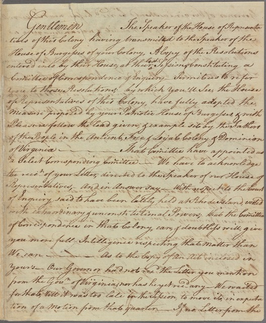 Letter to Peyton Randolph and the Committee of Correspondence of Virginia
