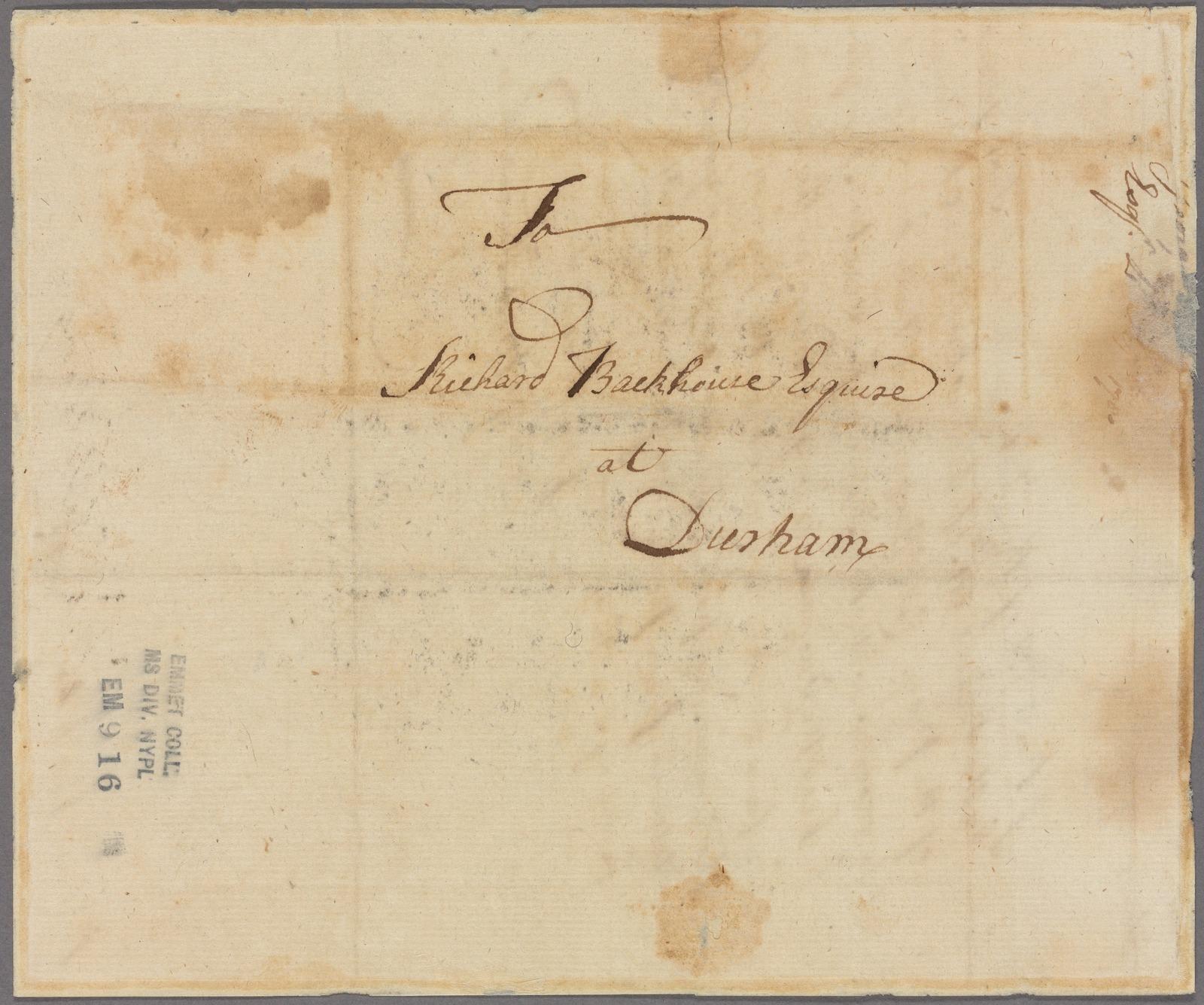 Letter to Richard Backhouse, Durham [Penn.]