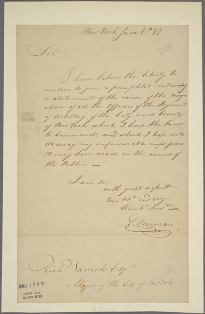 Letter to Richard Varrick, Mayor of the City of New York
