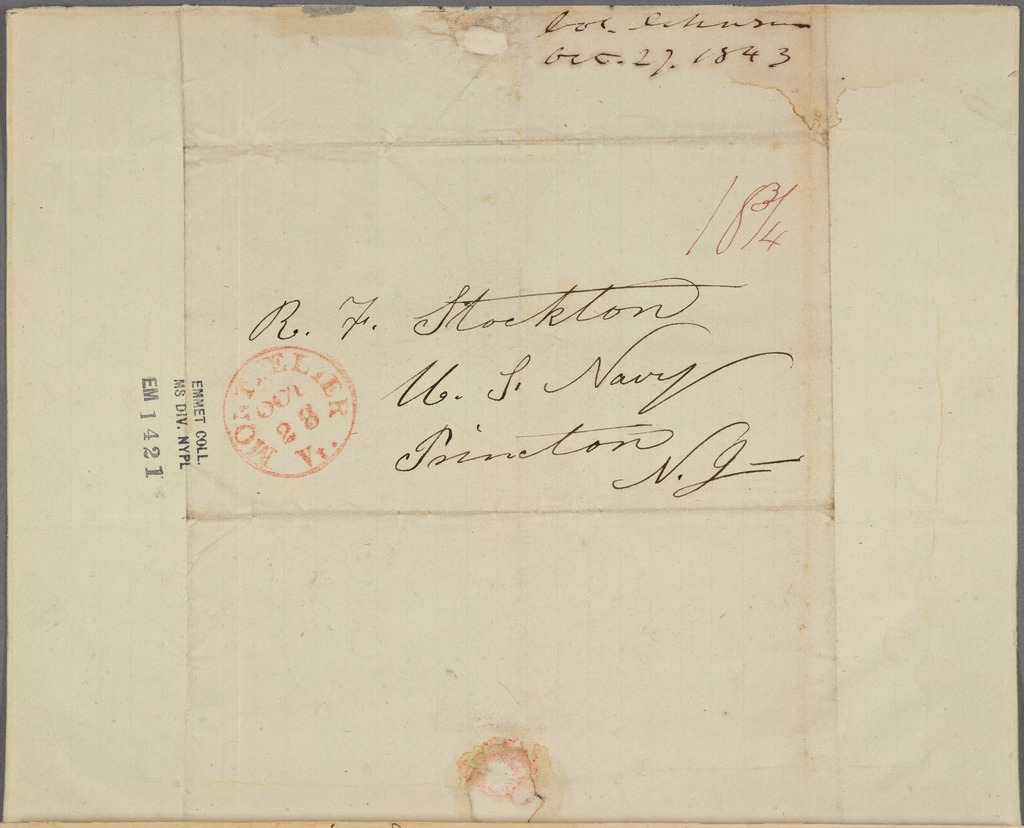 Letter to Robert Field Stockton and others, Princeton, N. J.