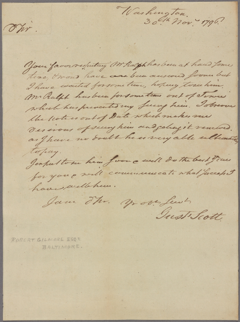 Letter to Robert Gilmore, Baltimore, Md.