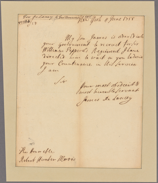 Letter to Robert Hunter Morris [Philadelphia]