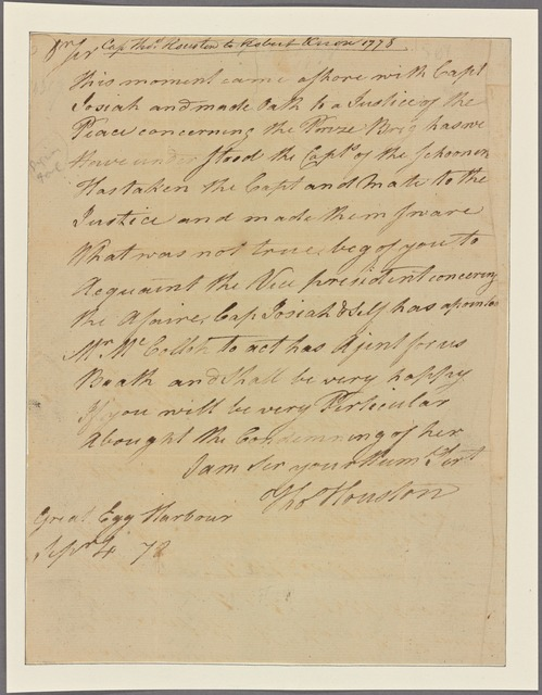 Letter to [Robert Knox,] Philadelphia. Capt. [James]