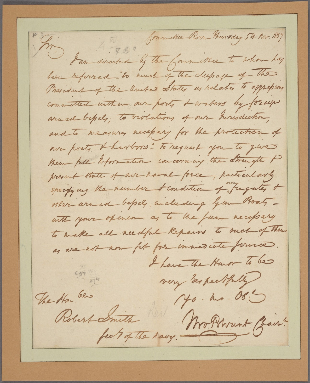 Letter to Robert Smith, Sec'y of the Navy
