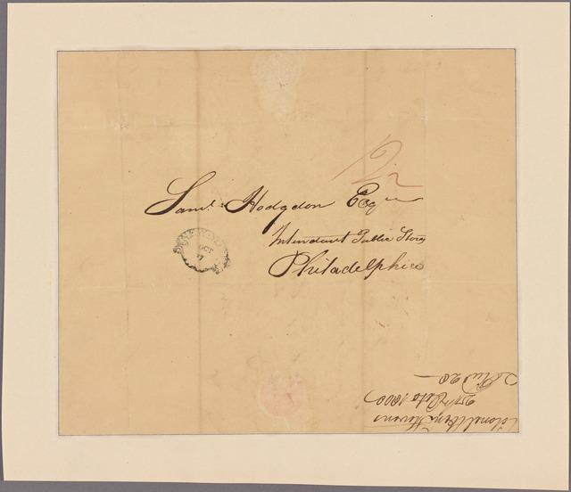 Letter to Samuel Hodgdon, Intendant Public Stores, Philadelphia