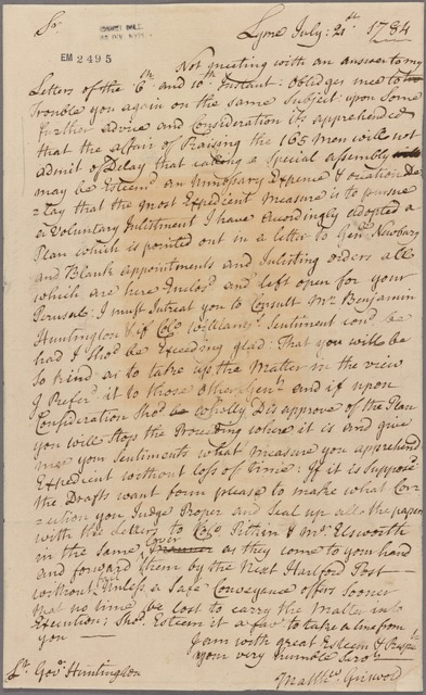 Letter to Samuel Huntington, Norwich
