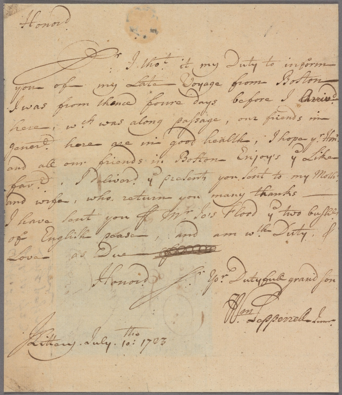 Letter to Samuel Sewall, Boston, per Joseph Flood
