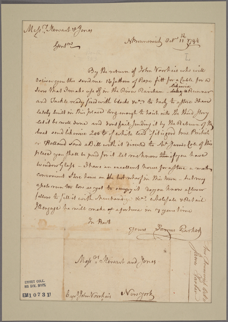 Letter to Stewart and Jones, New York